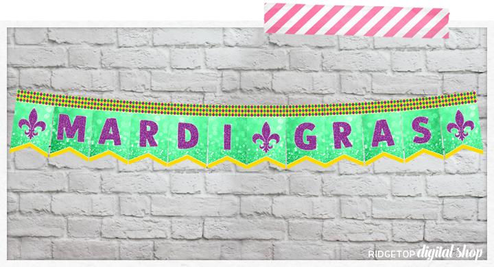 Mardi Gras Free Printable Banner | Photo Booth Backdrop | Party Decor | Ridgetop Digital Shop