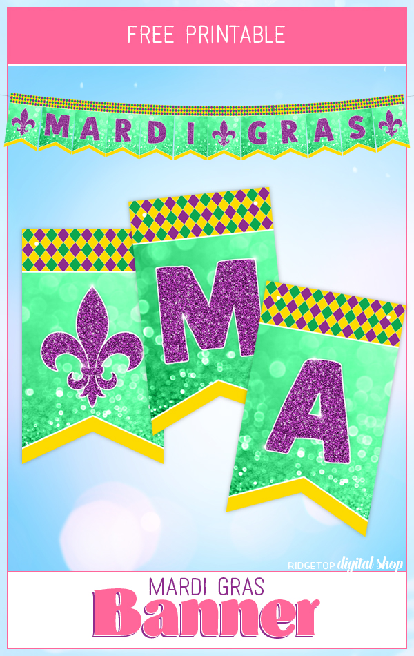 Mardi Gras Free Printable Banner | Mardi Gras Photo Booth Backdrop | Mardi Gras Party Decor | Ridgetop Digital Shop
