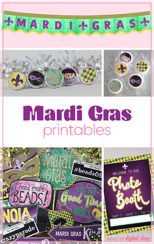 Mardi Gras Party Printables | Mardi Gras Photo Booth | Mardi Gras Photo Props | Hershey Kiss Candy Stickers | Ridgetop Digital Shop