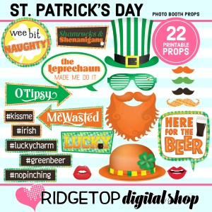 St Patrick's Day Photo Props | March Photo Booth | Printable Props | Ridgetop Digital Shop