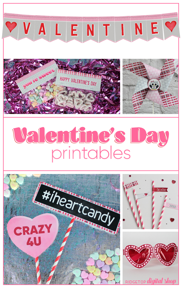 Valentine's Day Party Printables   Treat Bag Toppers   Banner   Photo Booth Props   Straw Flags   Ridgetop Digital Shop