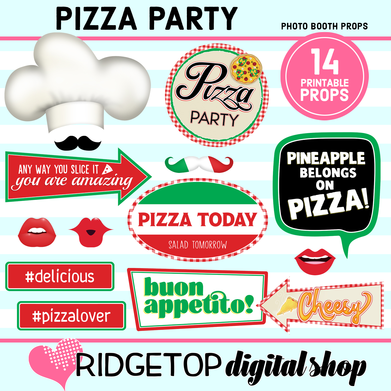 Pizza Party photo booth props | Ridgetop Digital Shop