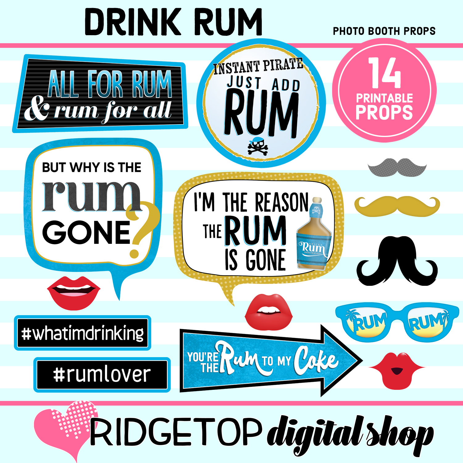 rum Photo Booth Props