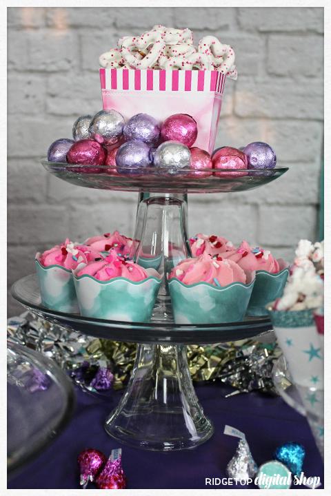 Super Sweet 12th Birthday Party | cupcake wrapper | pretzels | chocolate | Ridgetop Digital Shop