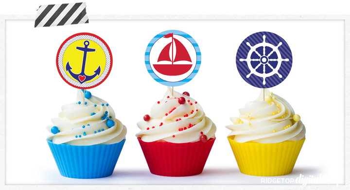 Nautical Garland and Cupcake Toppers Free Printable | Nautical birthday | Nautical baby shower | Nautical party idea | Ridgetop Digital Shop