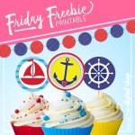 Nautical Garland and Cupcake Toppers Free Printable