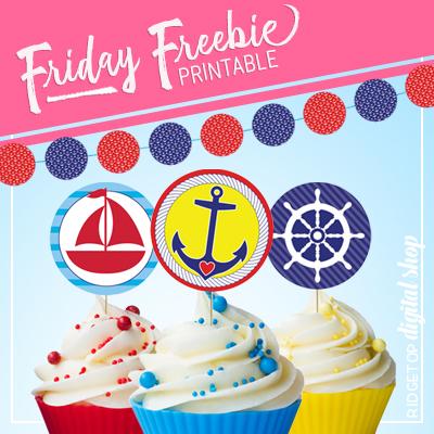 Nautical Party Cupcake Toppers Free Printable | Ridgetop Digital Shop