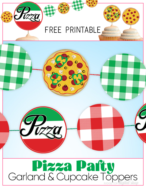 Pizza Party Garland and Cupcake Toppers Free Printable | Pizza Party Decor | Pizza Party Banner | Party Printable Free | Ridgetop Digital Shop