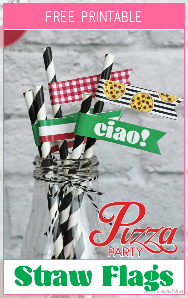 Pizza Party Straw Flags Free Printable | Pizza Party Decor Free | Party Printable Free | Ridgetop Digital Shop