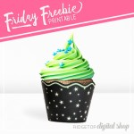 Neon Star Cupcake Wrapper Printable