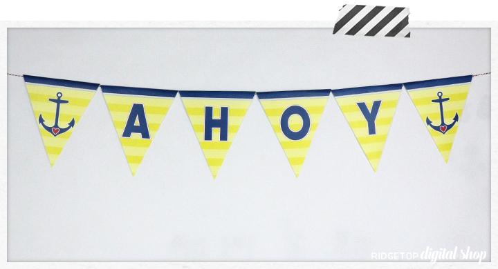 Nautical Pennant Banner Free Printable | Ridgetop Digital Shop