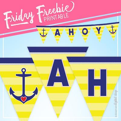 Nautical Party Ahoy Banner Free Printable | Ridgetop Digital Shop