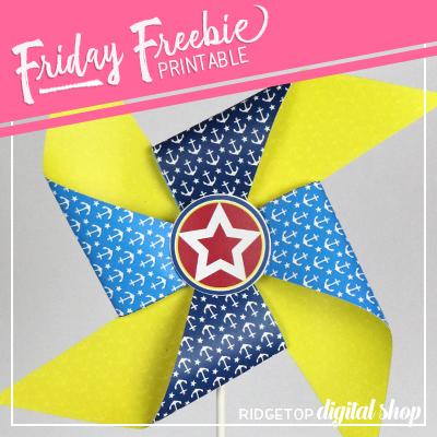 Nautical Party Pinwheel Photo Prop Free Printable | Ridgetop Digital Shop