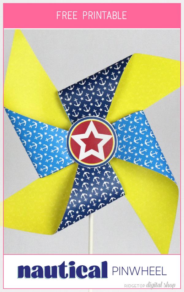 Nautical Party Free Printable Pinwheel | Nautical Birthday Printable | Nautical Baby Shower Decor | Ridgetop Digital Shop