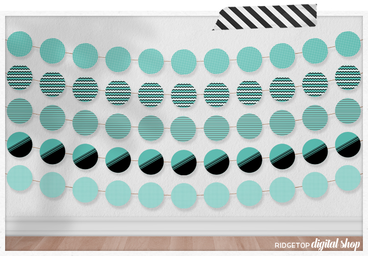 Turquoise Party Circles Free Printable | Turquoise Party Decor Free Printable | Ridgetop Digital Shop