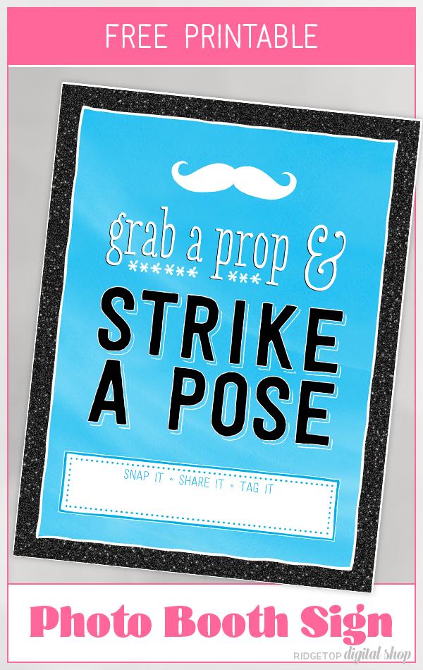 Blue Photo Booth Sign Free Printable | Birthday photo booth | Blue party decor | Ridgetop Digital Shop
