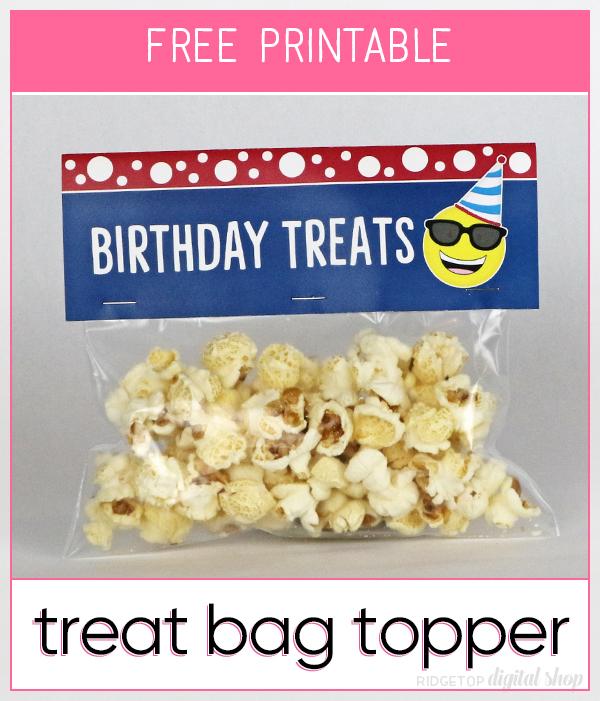 Birthday Emoji Treat Bag Topper Free Printable   Emoji Party Idea   Birthday Party Printable Free   Ridgetop Digital Shop