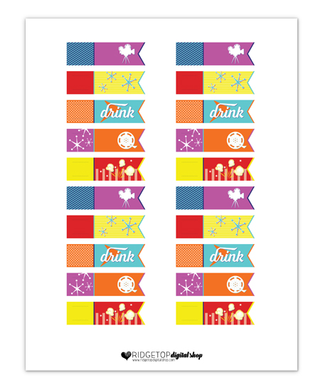 Movie Night Straw Flags Free Printable | Ridgetop Digital Shop