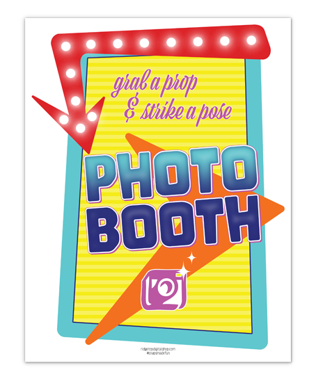 50's Theme Photo Booth Sign Free Printable | printable PDF | 50's Drive In | Ridgetop Digital Shop