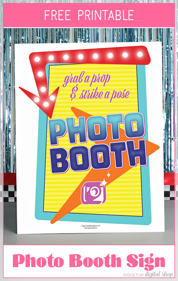 50's Theme Photo Booth Sign Free Printable | Retro Movie | Retro Party Printable | Backyard Movie Night Printable | Back to the Future | Grease | 50's movies | Ridgetop Digital Shop