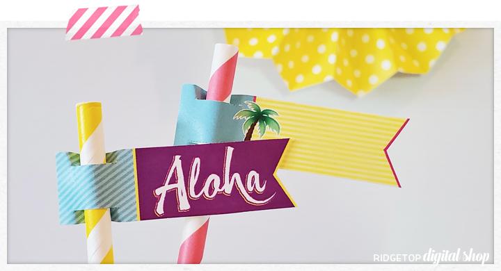 Luau Straw Flags Free Printable | Ridgetop Digital Shop