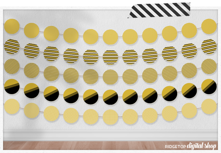 Gold Party Circles Free Printable | Gold Banner Garland | Gold Party Decor | Ridgetop Digital Shop