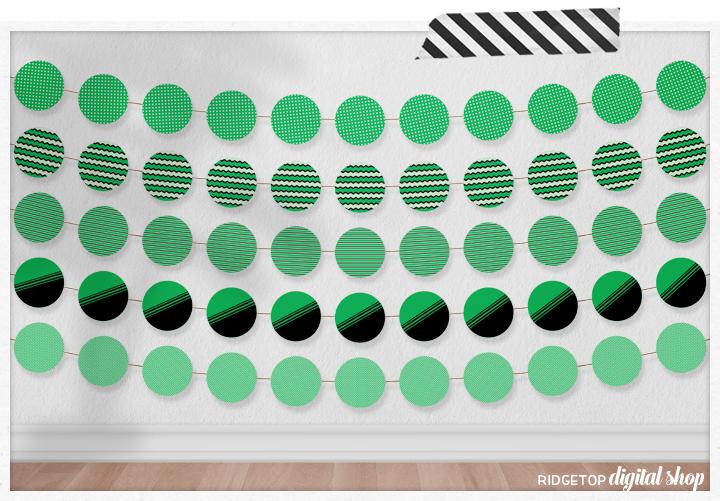 Green Party Circles Free Printable | St Patricks Day Party Printable Free | Green Party Printable Free | Green Photo Booth | Green party Decor | Ridgetop Digital Shop
