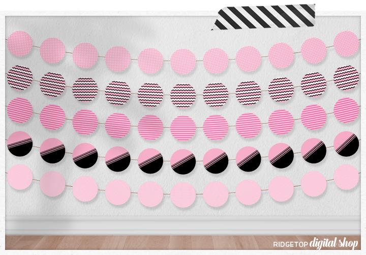 Soft Pink Party Circles Free Printable | Light Pink Party Decor | Ridgetop Digital Shop