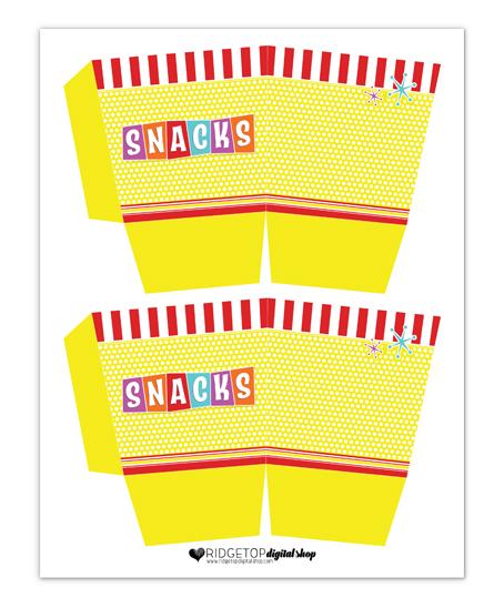 Snacks Box Free Printable   Ridgetop Digital Shop