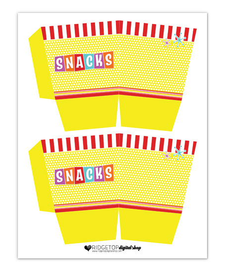 Snacks Box Free Printable | Ridgetop Digital Shop