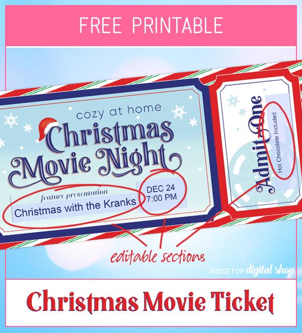 Ridgetop Digital Shop | Christmas Movie Night at Home Editable Ticket Free Printable | Christmas Family Movie Night