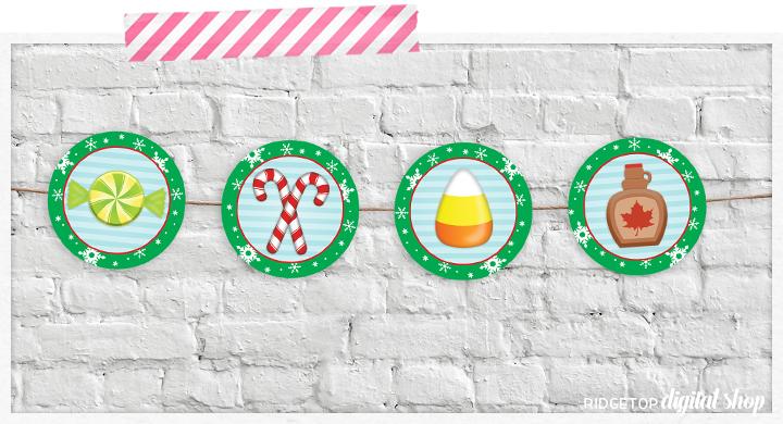 Elf Movie Food Groups Party Circles Free Printable Banner   Ridgetop Digital Shop