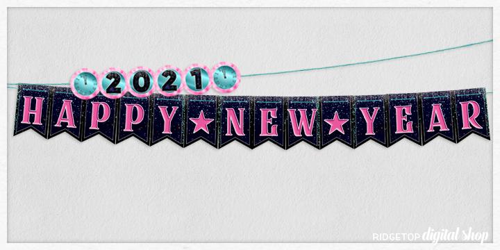 Happy New Year Banner Free Printable | Happy 2021 | Ridgetop Digital Shop