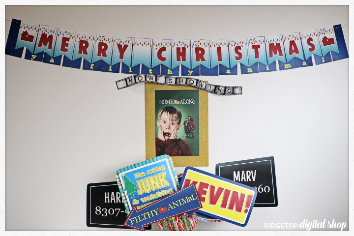 Home Alone Christmas Banner Free Printable | Kevin | Eating junk and Watching rubbish | Ridgetop Digital Shop