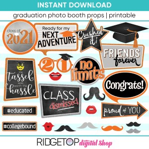 Class of 2021 Photo Booth Props - Printable - Orange Virtual Graduation Party