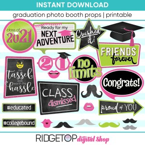 Class of 2021 Photo Booth Props - Printable - Pink Lime Neon Graduation Party