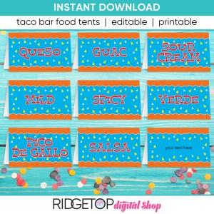 Taco Bar Food Tents - printable - editable