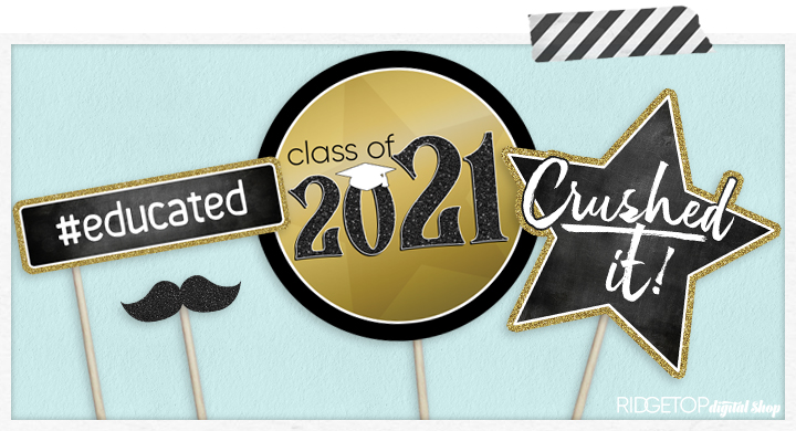 Class of 2021 Photo Booth Props - Printable - Black Red Graduation Party