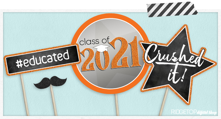 Class of 2021 Photo Booth Props - Printable - Orange