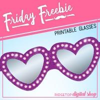 Purple Heart Glasses Free Printable