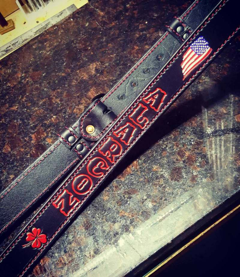 Stitched Leather Radio Strap w/ Outlined Paint Scheme
