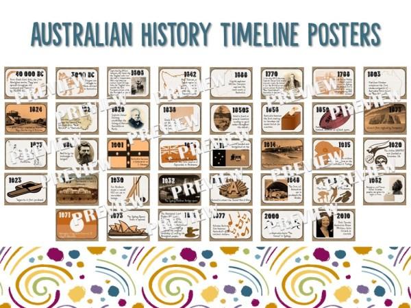 AUSTRALIAN HISTORY TIMELINE POSTERS | RIDGY DIDGE RESOURCES | AUSTRALIA
