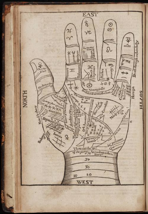 small resolution of a seventeenth century woodcut illustration of chiromancy lines for palm reading