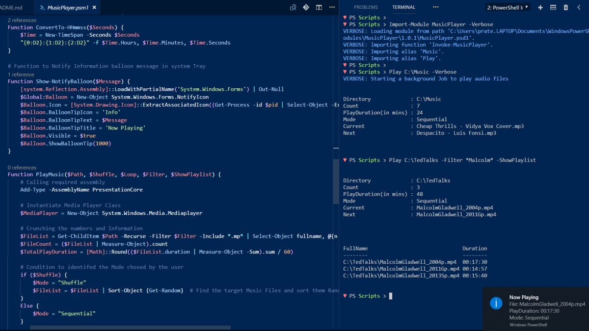 PowerShell Module to Play Music, Shuffle and Loop