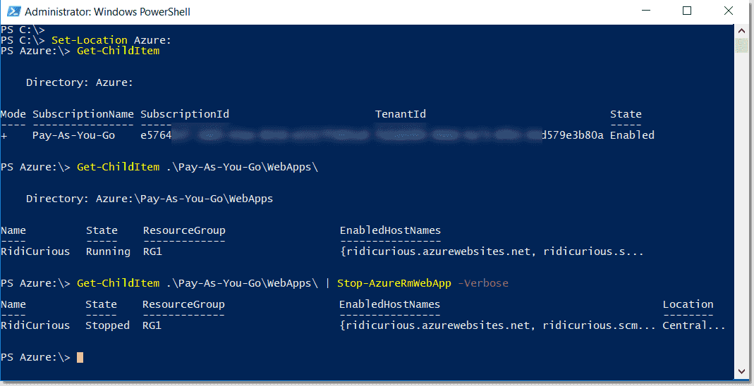 Mount the Azure drive on Local PowerShell Console