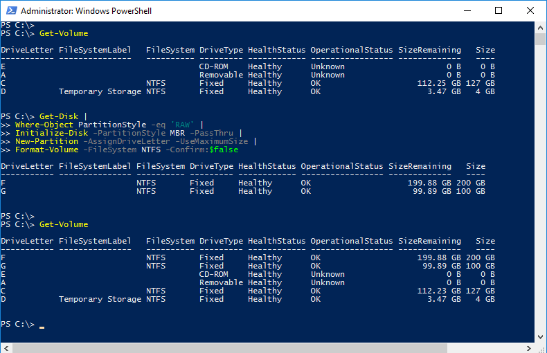 Managing disks with PowerShell