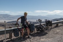One of the most technical descents I've ever done. Heavy crosswinds through winding gully's make for some tricky bike handling. Amazing fun though. Heading for Panamint Springs, CA, USA
