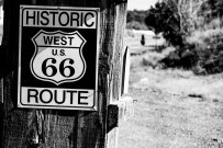 Riding route 66, the legendary cross-continental US highway. Near Moriarty, NM, USA