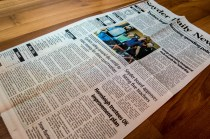 The journalist back in Snyder posted us a copy of our front page feature in the local paper. We're famous!