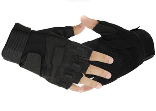 Military Half-finger Fingerless Tactical Airsoft Hunting Riding Cycling Gloves Black (M)